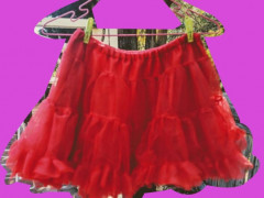 $20 美品!パーティーに!赤ミニフリルスカートS-M