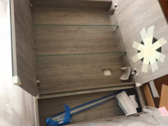 バスルームのミラーキャビネットとシンク(未使用)