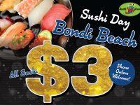 4月はボンダイビーチ店♪スシトレインの全皿$3キャンペーン!